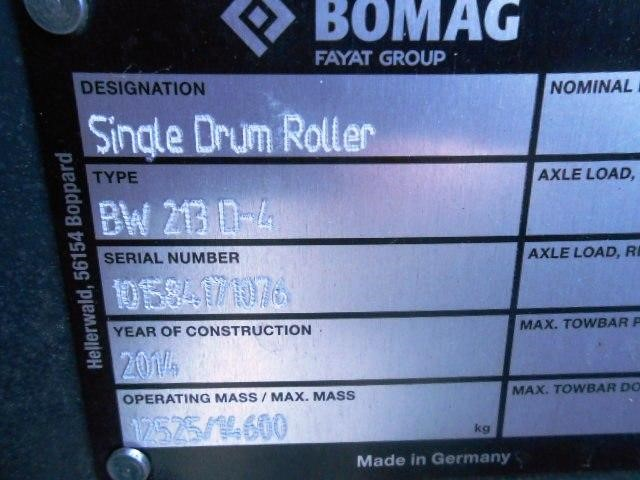 Detail photo of 2014 Bomag BW 213 D-4 from Construction Equipment Guide