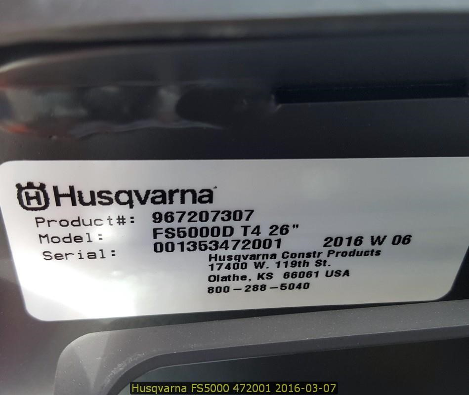 Detail photo of 2016 Husqvarna FS5000D from Construction Equipment Guide