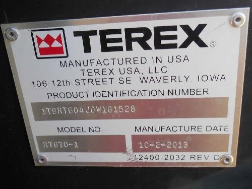 Detail photo of 2013 Terex RT 670 from Construction Equipment Guide