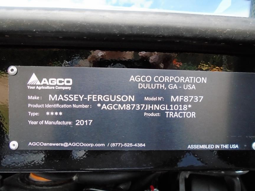 Detail photo of 2017 Massey Ferguson 8737 from Construction Equipment Guide