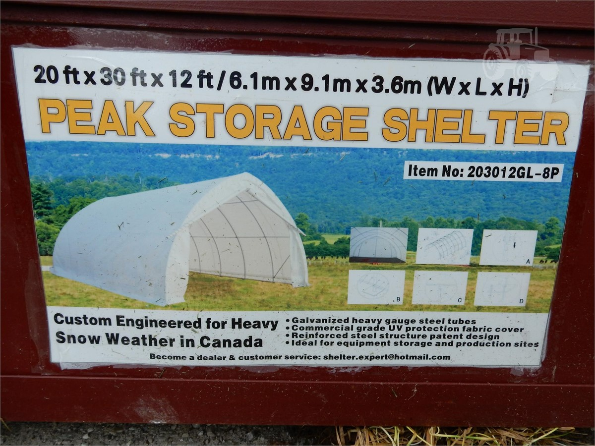 Peak 20x30x12 Shelter Storage : Tractorhouse peak storage shelter