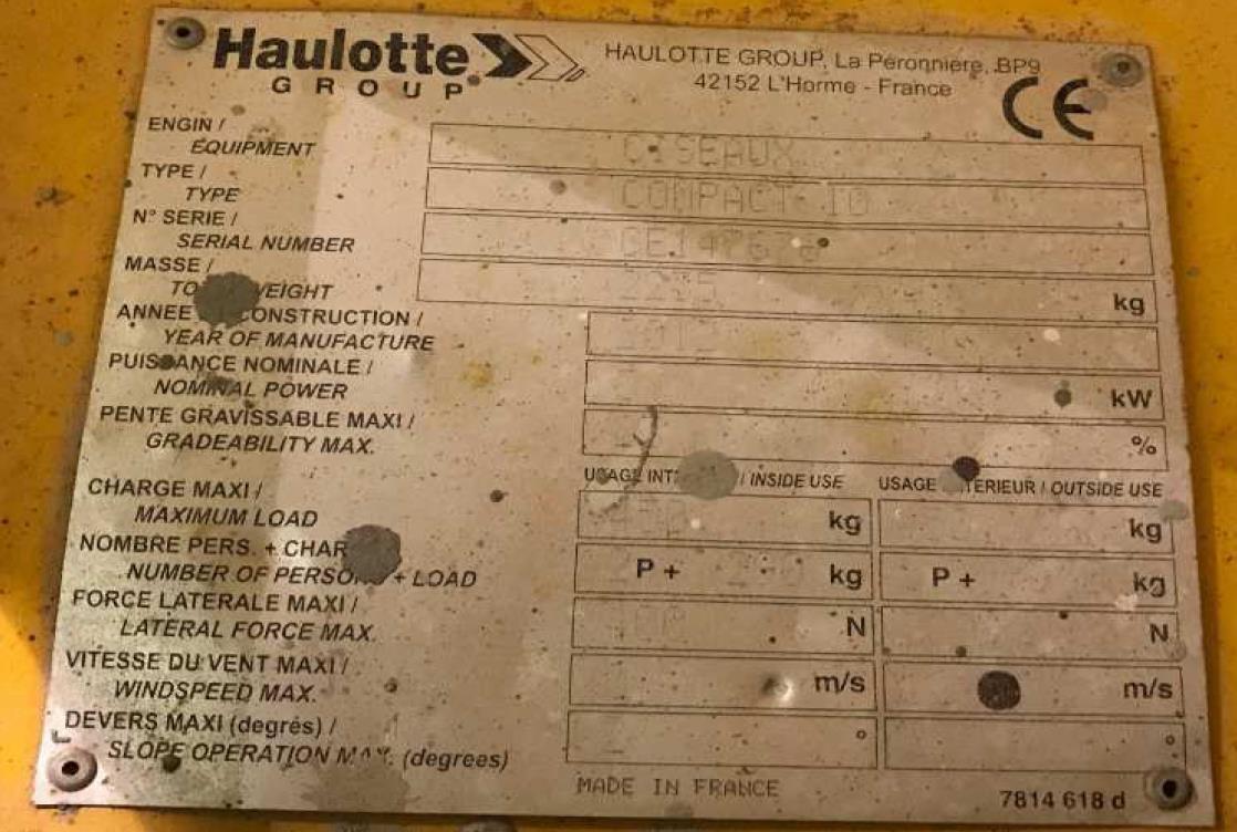 Haulotte COMPACT 10 Usato 2012