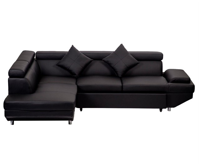 Lot # 4228 - CWS NEW BLACK LEATHER CORNER SECTIONAL SOFA F94BL