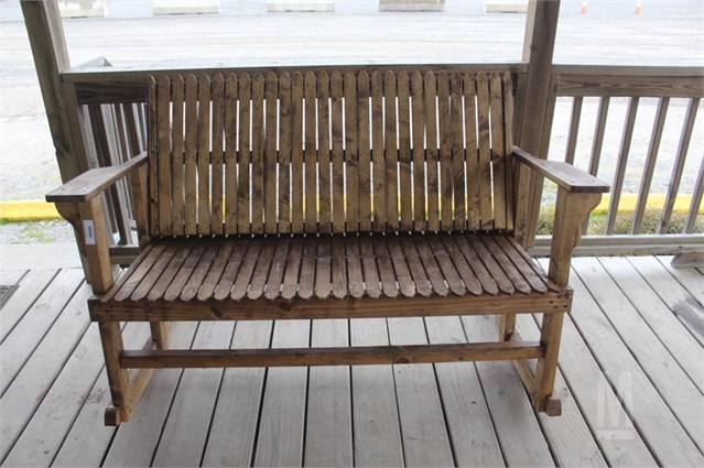 HOMEMADE WOODEN DOUBLE ROCKING CHAIR