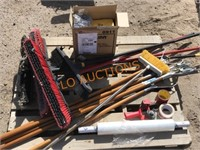 Pallet - Brooms, Wrap, Cleaning Supplies
