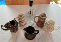6 Various Collectible Beer Steins and Liquor