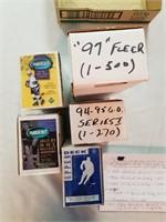 4 Sets Of Hockey Cards And 1 Baseball Card Set