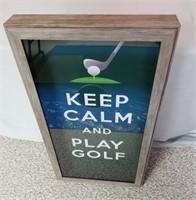 "One Golf Shadow Box. Wall Hanger On Back ""keep"