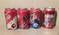 Box Of Blue Jays & Hockey Sweater Coke Cans