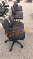 7pc Black Rolling Office Chairs