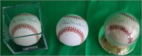 LOT OF 3 SIGNED HALL OF FAME BASEBALLS TO INCLUDE