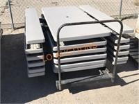 6pc Folding Picnic Tables w/ Rolling Cart