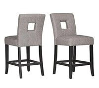 BLACK FINISH GREY LINEN COUNTER HEIGHT CHAIR