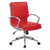 MID BACK FAUX LEATHER CHAIR, RED (NOT ASSEMBLED)