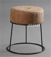 ROUND LOW STOOL, METAL AND LEATHER SOFT COVER