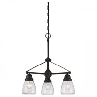 NUVO 3-LIGHT CHANDELIER WITH CLEAR GLASS