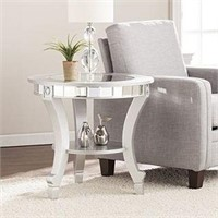 LINDSAY GLAM MIRRORED ROUND END TABLE