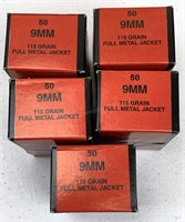 250 Rounds BVAC 9mm 115 grain FMJ Ammunition