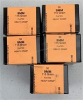 250 Rounds HSM 9mm 115 grain Ammunition