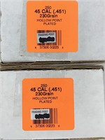500 .45 Caliber 230 grain Plated HP Bullets