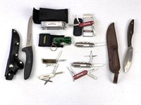 10 Pc Pocket Knives, Belt Knife
