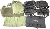 Leather fanny packs, canvas carrier, military