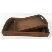 3-PIECE SERVING WOOD TRAY
