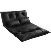 LEATHER FOLDABLE FLOOR SOFA/BED WITH TWO PILLOW