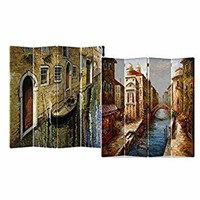 4 PANEL DOUBLE SIDED PAINTED CANVAS SCREEN