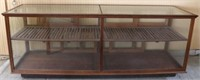 LRG OAK COUNTRY STORE  DISPLAY CASE, GLASS