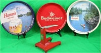 LOT OF 4 BEER ITEMS INC. 3 TRAYS, 2 HAMM'S BEER