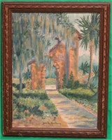OIL ON BOARD FLORIDA SCENES WITH TREES & GATE,