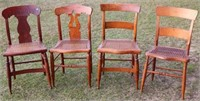 COLL. OF 4 19TH C. CANE SEAT SIDE CHAIRS WITH