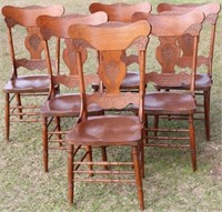 SET OF 6 TRIPLE PRESSED BACK CHAIRS, OLD