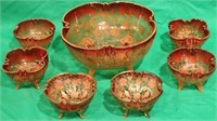 7 PC MOSER BERRY SET, AMBERINA TYPE GLASS WITH