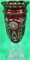 LATE 20TH C. CUT OVERLAY VASE WITH CARVED RELIEF