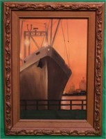 PASTEL OF A FREIGHTER AT DOCK, SIGNED LOWER
