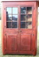LATE 18TH C. WOODEN CORNER CUPBOARD WITH OLD