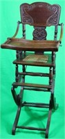 PRESSED OAK ADJUSTABLE HIGH CHAIR WITH TRAY &