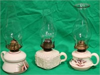 LOT OF 3 LATE 19TH C. FINGER LAMPS, 2 MILK GLASS