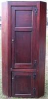 LATE 18TH C. 2 DOOR  CORNER CUPBOARD, FLAT