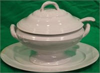 19TH C. WHITE IRONSTONE COVERED TUREEN ON