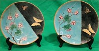 PAR WEDGWOOD MAJOLICA PLATES, BUTTERFLY,