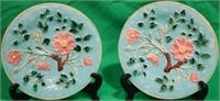PR MAJOLICA PLATES WITH EMBOSSED FLORAL &