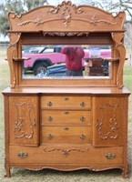 LARGE ORNATE VICTORIAN OAK SIDEBOARD WITH