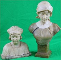 2 LATE 19TH C. CARVED MARBLE BUSTS OF WOMEN,