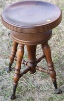 MAPLE ADJUSTABLE PIANO STOOL, METAL CLAW