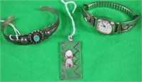 3 NATIVE AMERICAN STERLING ITEMS INC. PENDANT