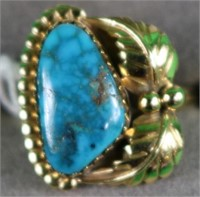 14K YELLOW GOLD LADIES RING WITH TURQUOISE, SIZE