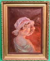 OIL ON CANVAS DEPICTING YOUNG GIRL IN FIRELIGHT,
